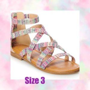 Gladiator Pastel Palm Tree Girls Sandals
